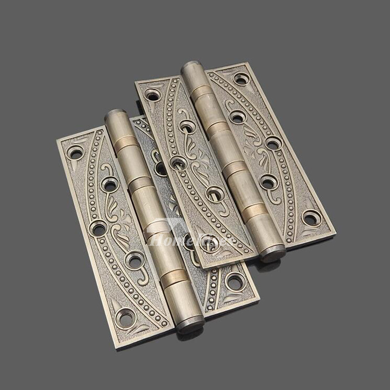 Vintage Carved Zinc Alloy Antique Door Hinges 2 Pcs No Slot