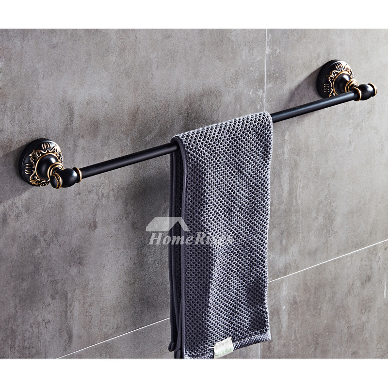 black bathroom accessories sets carved wall mount aluminum orb