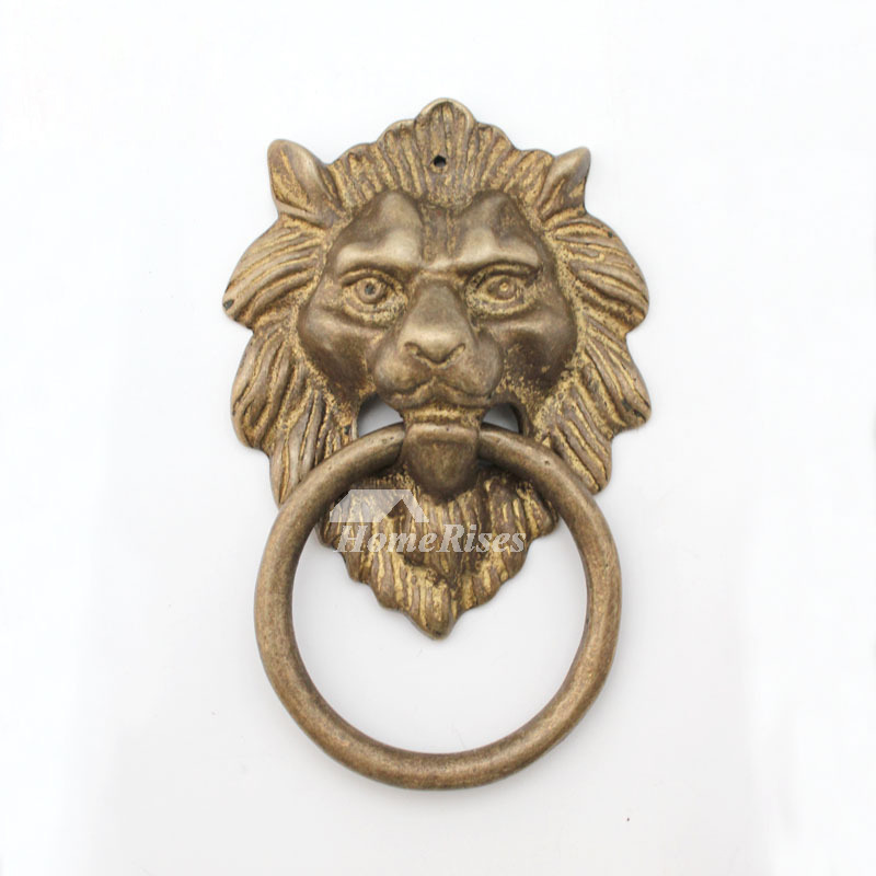 Carved Unique Door Knockers Lion Shaped Brass