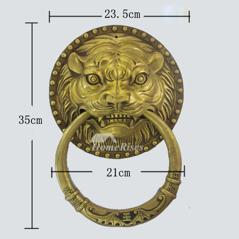 Antique Door Knockers Carved Lion Shaped Brass Vintage - Door Knockers Carved Lion Shaped Brass Vintage