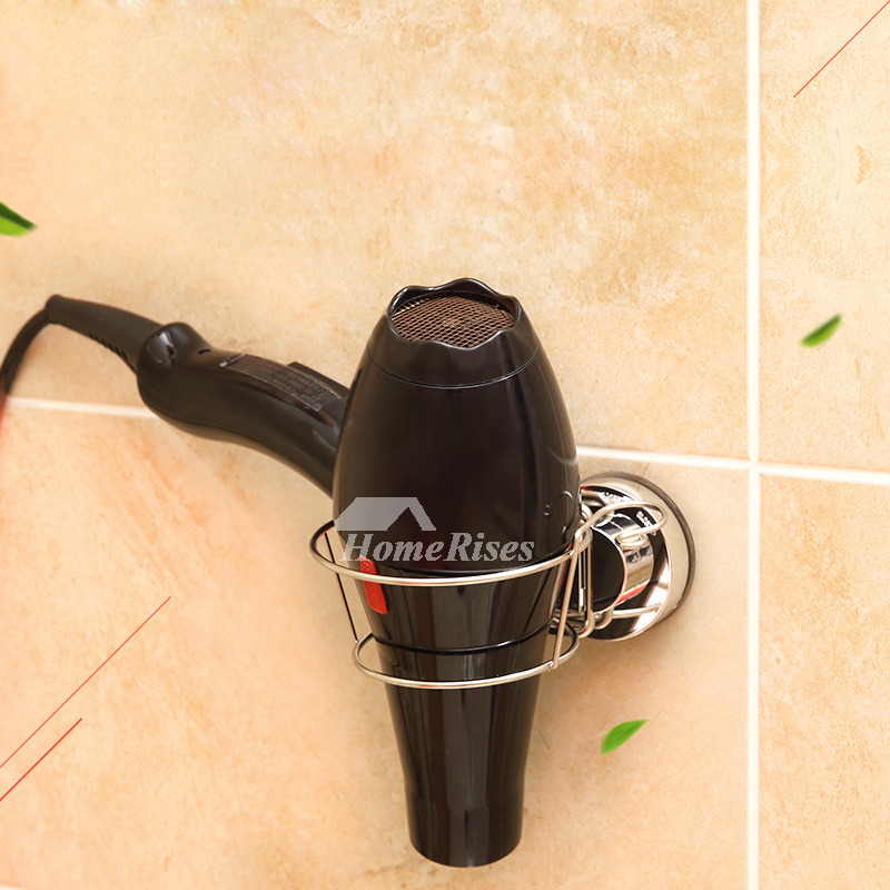 Suction Cup Hair Dryer Holder Stainless Steel Silver Bathroom