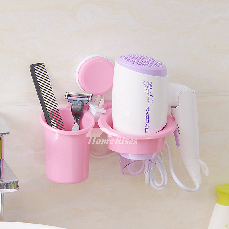 Suction Cup Hair Dryer Holder White Plastic Bathroom Cheap