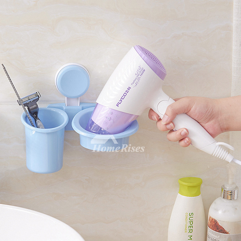 Suction Cup Hair Dryer Holder White Plastic Bathroom Cheap