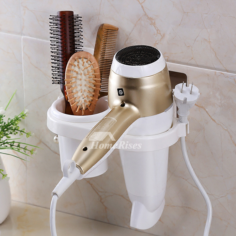 White Hair Dryer Holder Suction Cup Cheap Plastic Bathroom