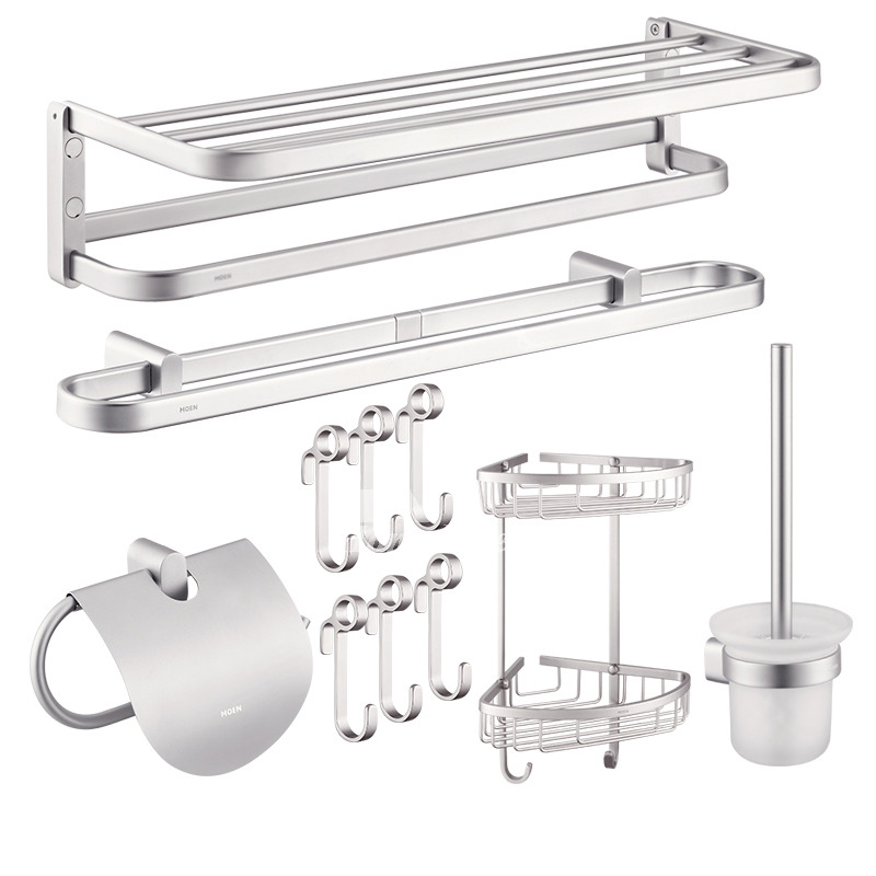 Modern aluminum wall mount silver bathroom accessories set for Silver bathroom set