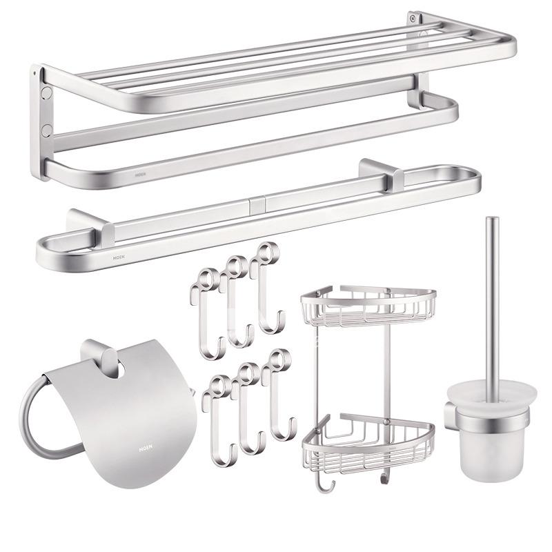Silver Bathroom Set Of Modern Aluminum Wall Mount Silver Bathroom Accessories Set