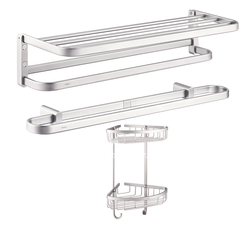 Solid Aluminum Electroplated Silver Bathroom Accessories Set