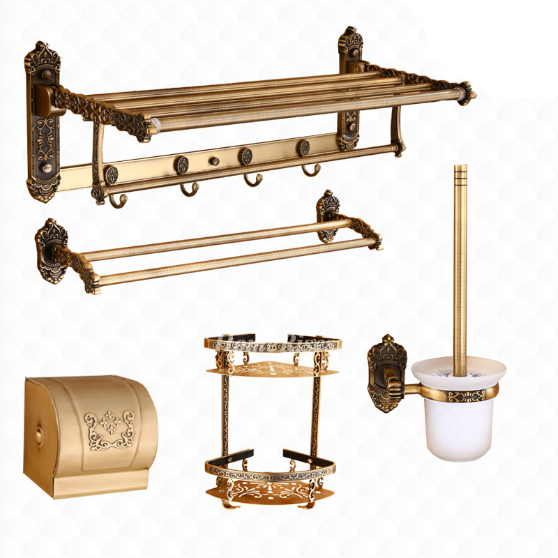 Antique bathroom accessories brass carved aluminum wall mount for Vintage bathroom accessories sets
