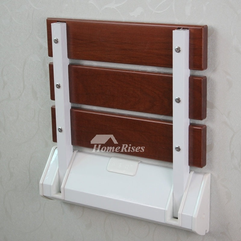 Wood Wall Mounted Folding Shower Seat Plastic Asian Modern