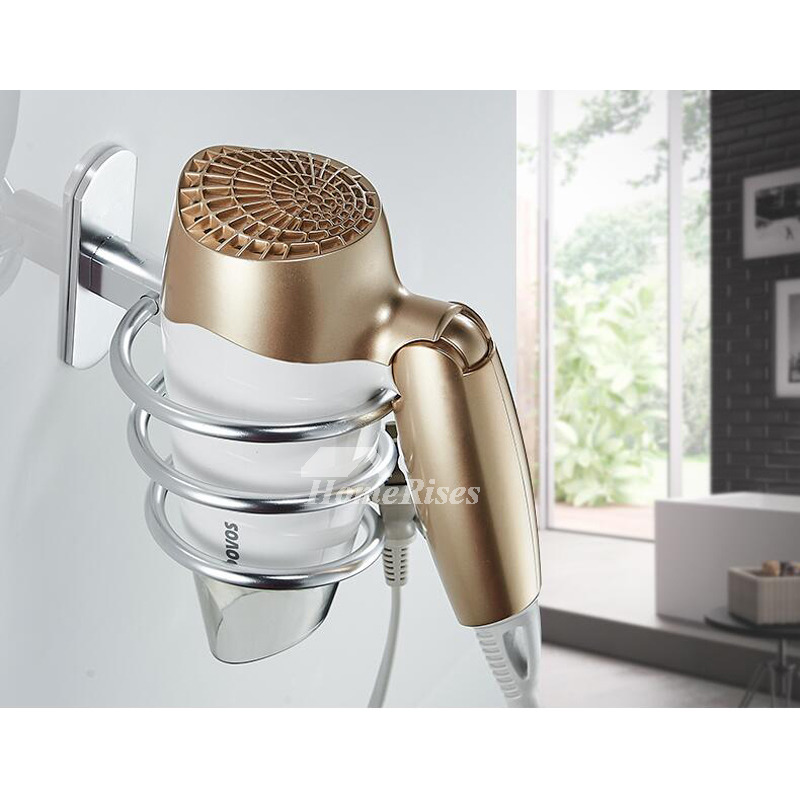 Wall Mounted Hair Dryer Holder Silver Black Gold Vessel