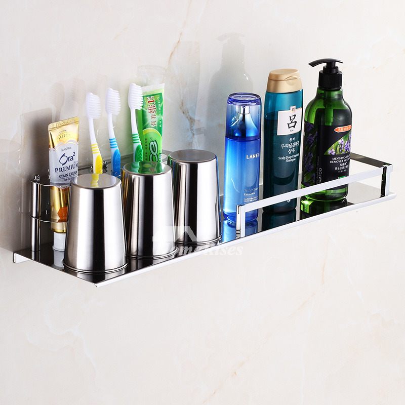 Solid Stainless Steel Wall Mount Toothbrush Holder Silver Bathroom