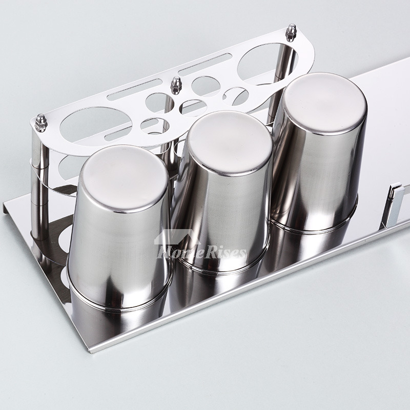 Solid Stainless Steel Wall Mount Toothbrush Holder Silver
