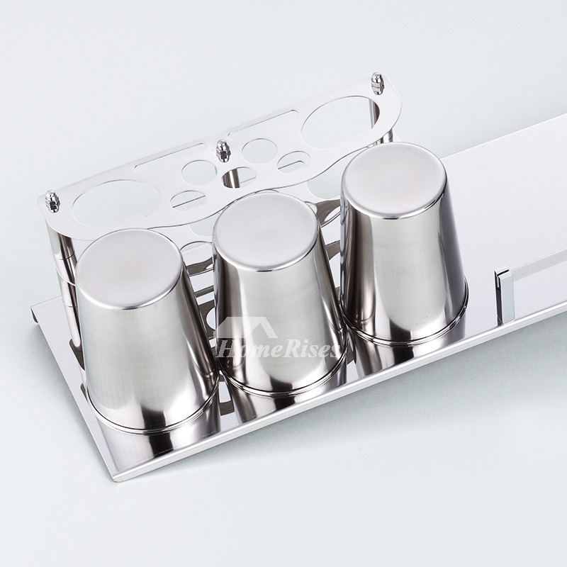 Bathroom Toothbrush Holder Wall Mounted Silver Stainless Steel