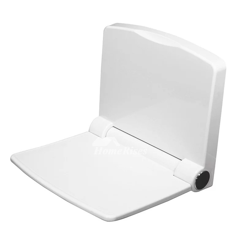 Folding Shower Seat White Aluminum Painting Bathroom Wall Mount
