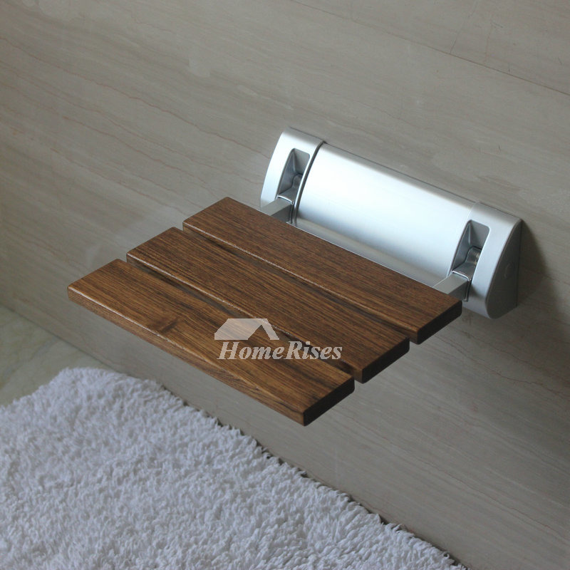 Brown Teak Wall Mounted Folding Shower Seat High Strength Alloy Bracket Bathroom Wooden Bench