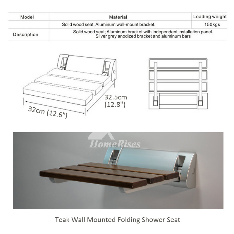 Wall Mounted Folding Teak Shower Seat Bathroom Brown Vivid