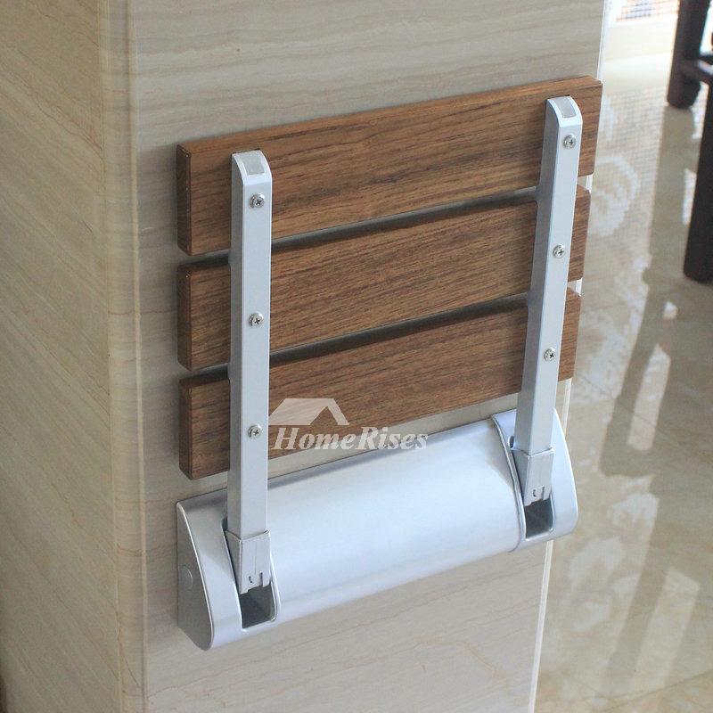 Mounted Folding Teak Shower Seat Bathroom Brown Vivid