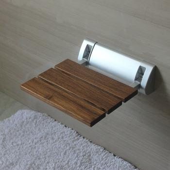 Folding Shower Seat White Aluminum Painting Bathroom Wall Mount