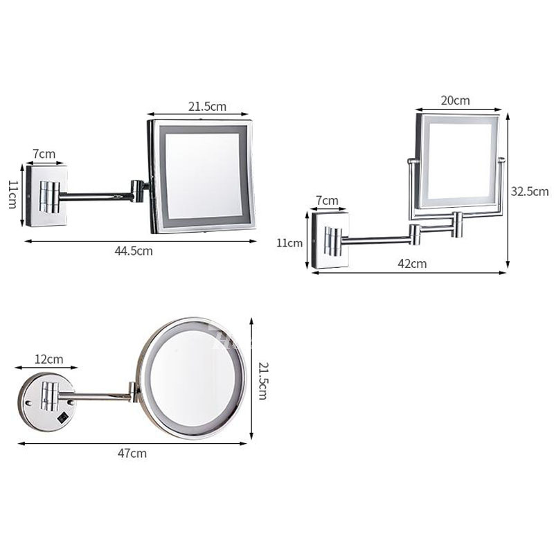Led Makeup Mirror Magnifying Wall Mount One Double Sided Brass
