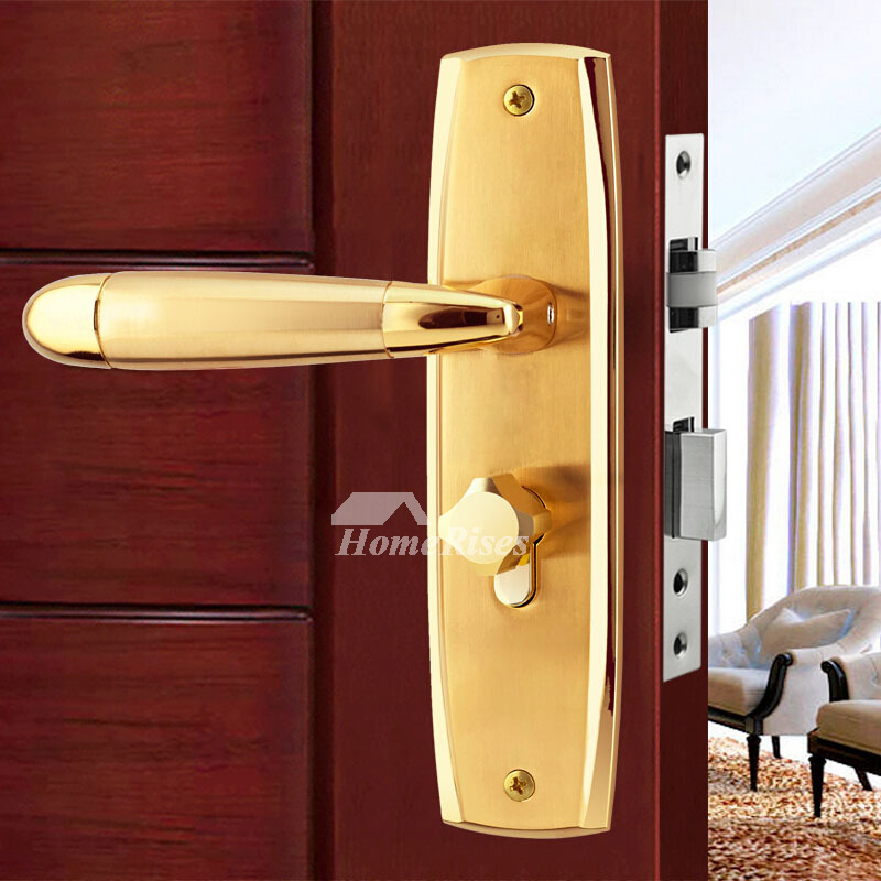 Commercial Door Locks Gold Zinc Alloy Luxury Polished Brass