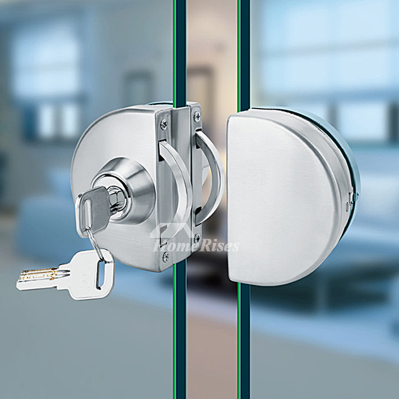 Glass Door Lock Brushed Stainless Steel Silver Double Bathroom