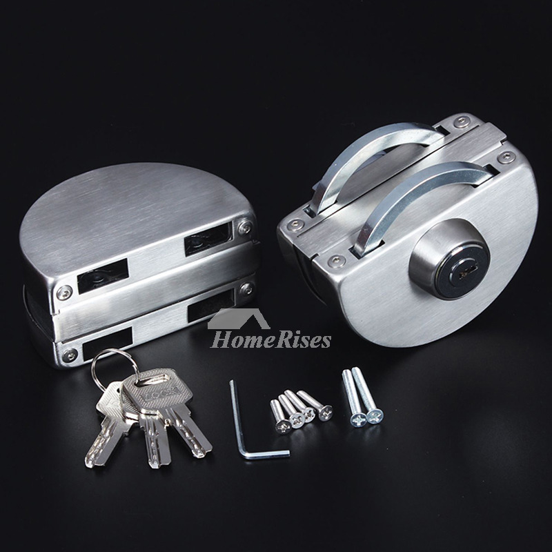 Glass Door Lock Brushed Stainless Steel Silver Double Bathroom