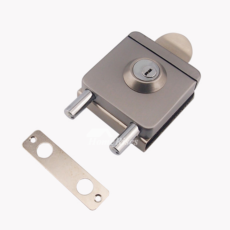 Glass Door Lock Stainless Steel Silver Brushed Square Shaped