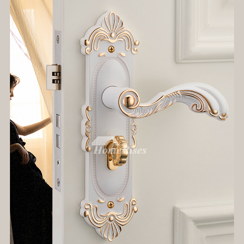 Mortise Style Lock Carved Modern White Bronze Gold Zinc Alloy