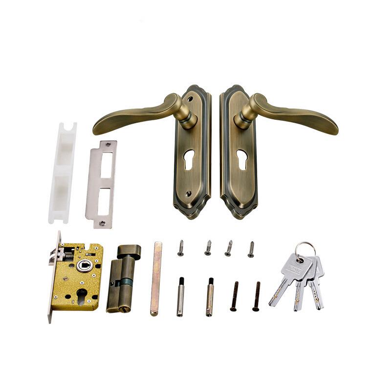 Vintage Front Door Locks Brushed Polished Brass Zinc Alloy