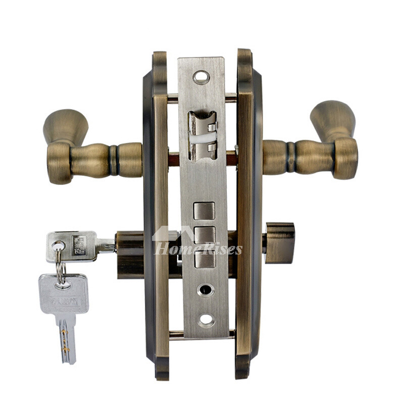 Vintage Front Door Locks Brushed Polished Brass Zinc Alloy