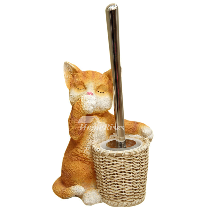 Cat Toilet Brush Holder Resin Free Standing Carved Bathroom