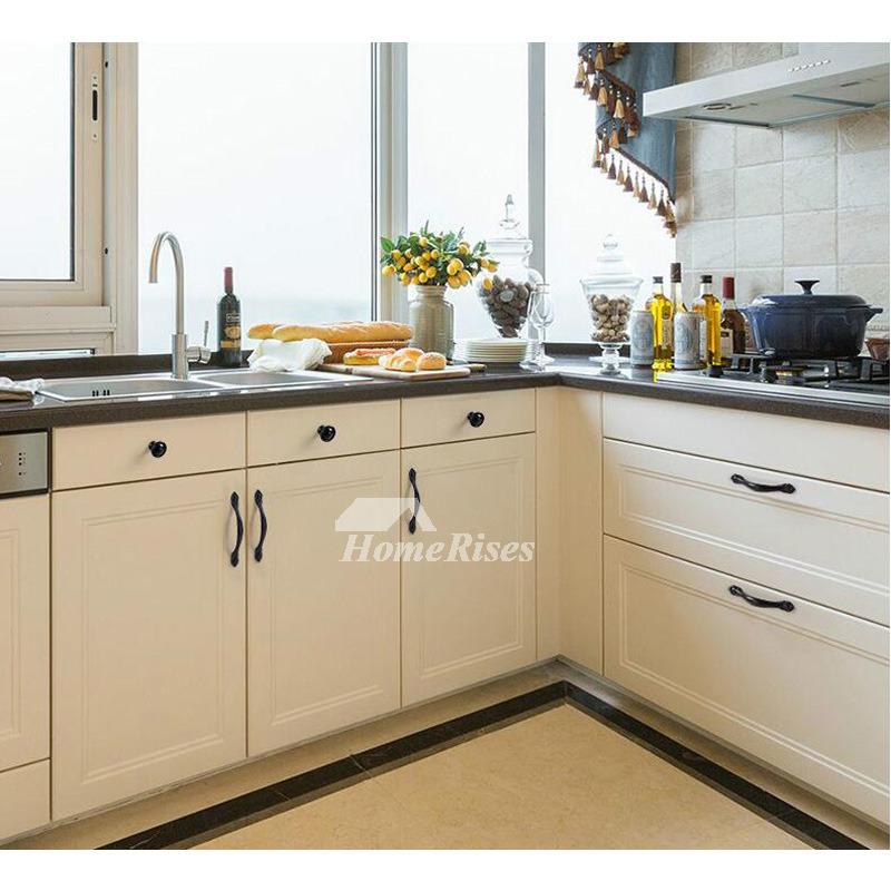 Black Cabinet Knobs Zinc Alloy Designer Smooth Carved Kitchen