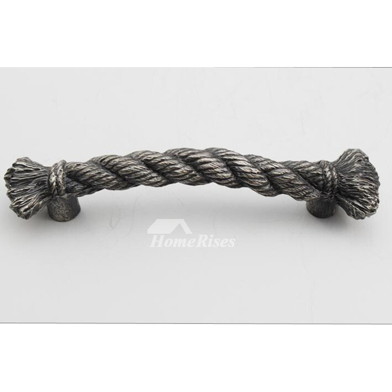 Rope Shaped Alloy Black Carved Black Cabinet Pulls