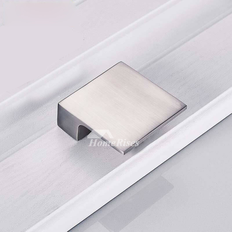 Modern Cabinet Pulls Brushed Chrome Drawer Silver Zinc Alloy