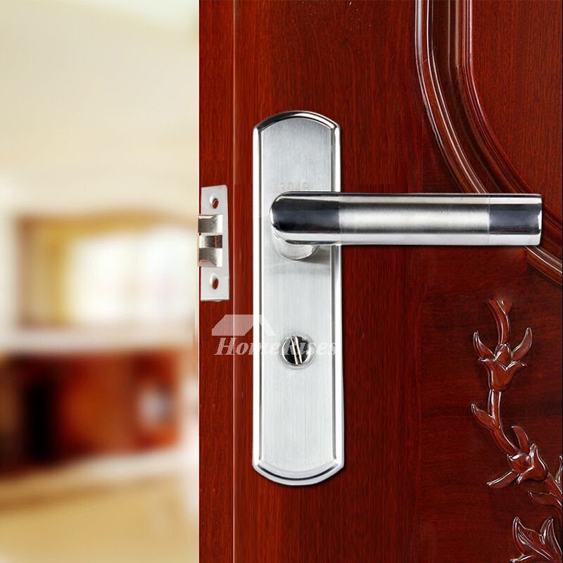 Front door locks and handles brushed stainless steel without key for Door handles for exterior doors