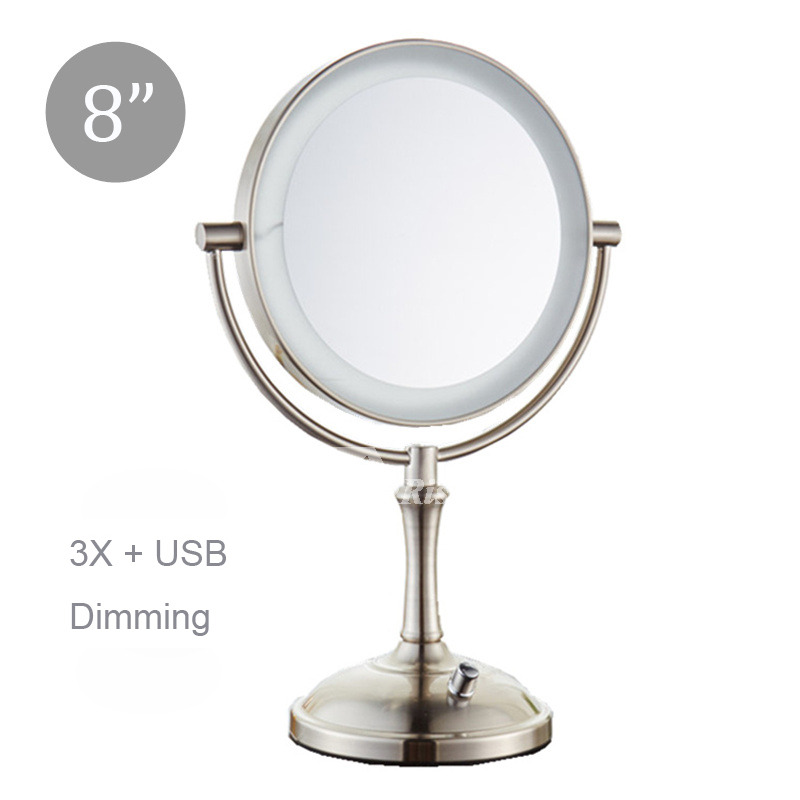 Led Lighted Makeup Mirror Magnifying 3x 5x Silver Double Sided