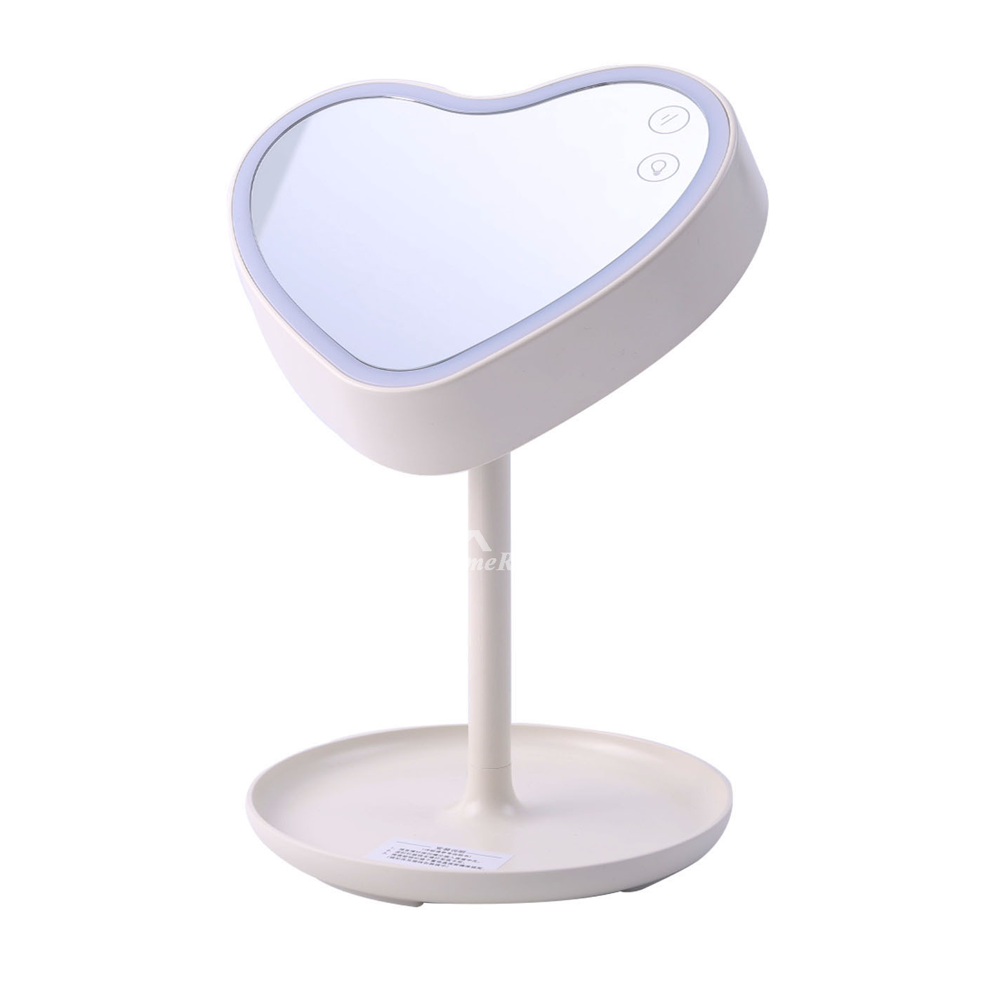White Makeup Mirror With Lights Led Heart Folding Free