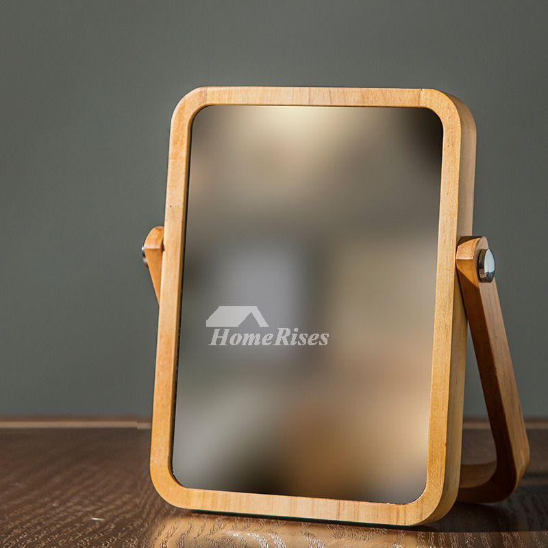 Folding Makeup Mirror Free Standing Natural Wood Rectangular