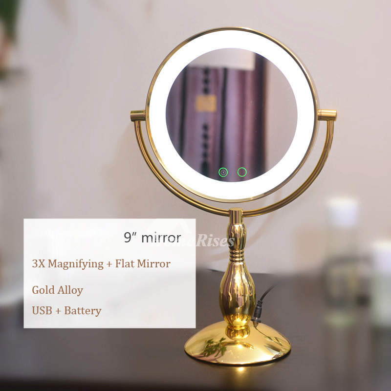 Led Light Makeup Mirror 3x Adjustable Double Sided Gold Silver