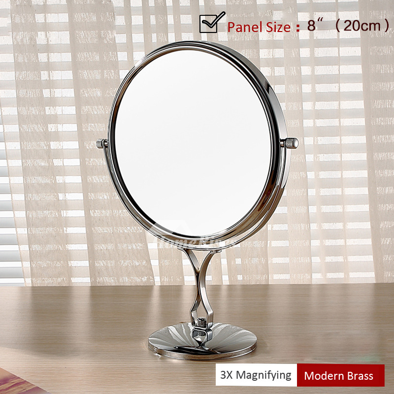 Free Standing Makeup Mirror 3x Magnifying Silver Double Sided