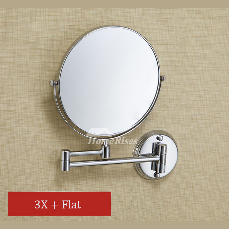 Makeup Mirror Wall Mount Folding Double Sided 3x Magnifying