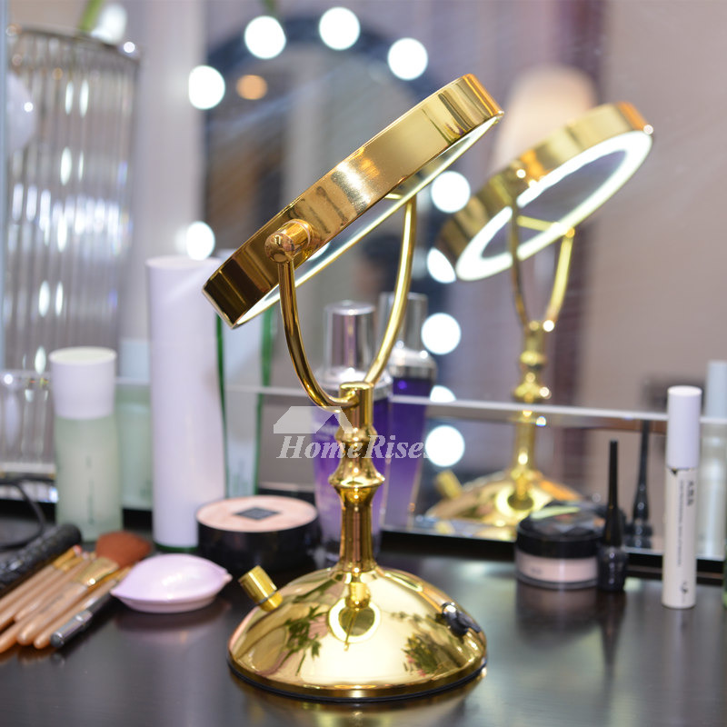 Polished Brass Luxury Led Vanity Makeup Mirror Double Sided 3x