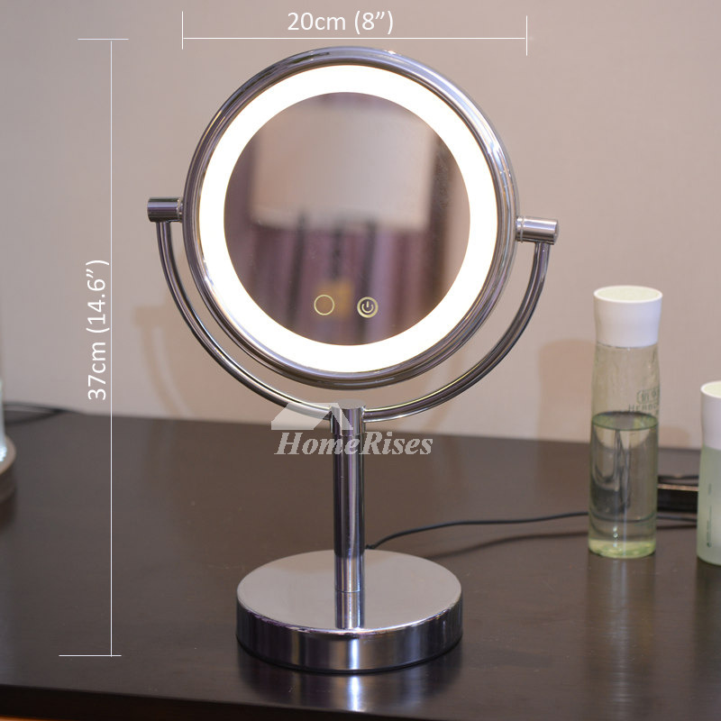Makeup Led Mirror Free Standing Double Sided 3x Magnifying Silver