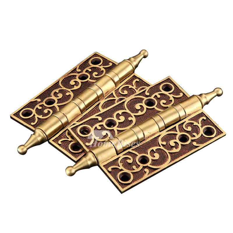 Antique Brass Door Hinges Carved 2 Pcs Rose Gold Bronze 5 Inch