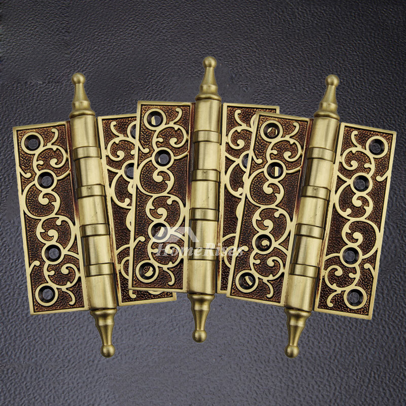 - Antique Brass Door Hinges Carved 2 Pcs Rose Gold Bronze 5 Inch