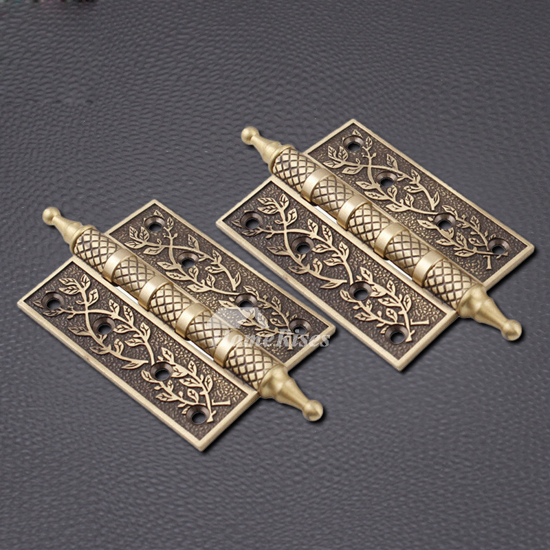 - Carved 2 Pcs Bronze/Brown Antique Door Hinges Brass Good Quality