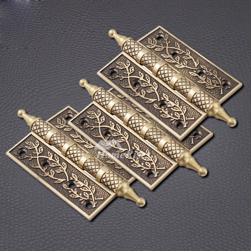 - Carved 2 Pcs Bronze/Brown Antique Door Hinges Brass Good Quality