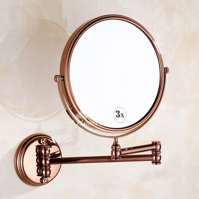 Makeup Magnifying Mirror Double Sided Rose Gold Wall Mount