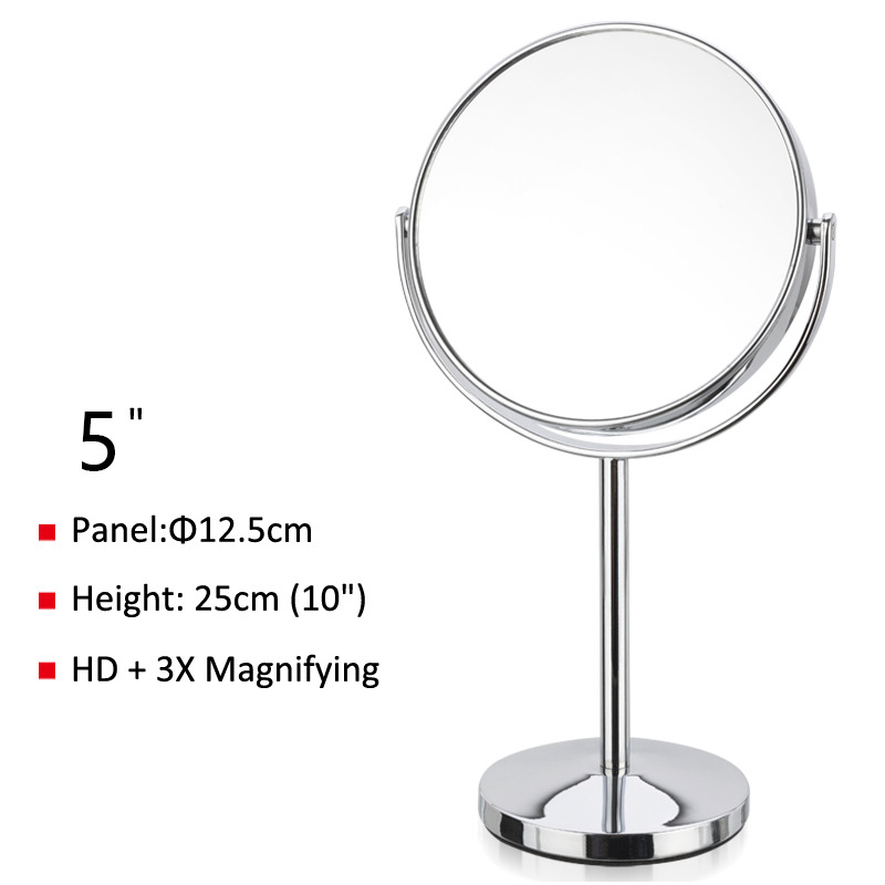 Best Magnifying Makeup Mirror Free Standing Silver Copper Double Sided