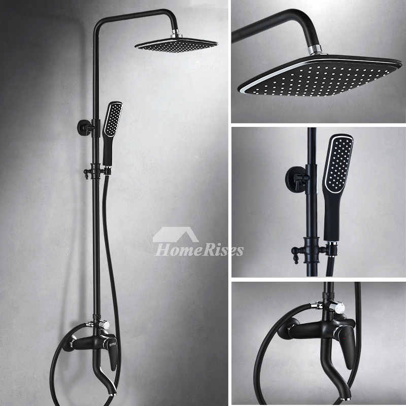 Wall Mount Shower Hand Shower Faucet.Black Shower Faucet Commercial Painting Single Handle Wall Mount